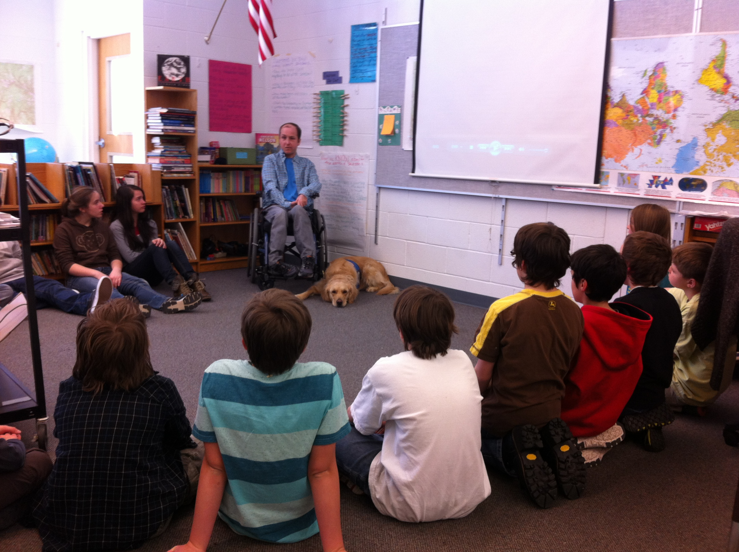 Thomas giving his presentation to the 5th and 6th grade at the Heath Elementary School. Made possible by a grant from the Heath Cultural Council.